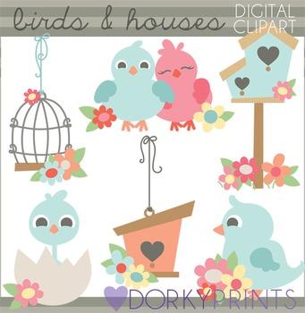 Birds and Bird House Clip Art
