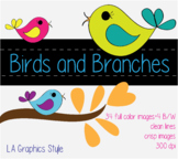 Birds and Branches Clipart - 300dpi - PERSONAL AND COMMERCIAL USE
