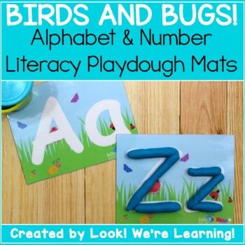 Birds and Bugs Alphabet and Number Playdough Mats