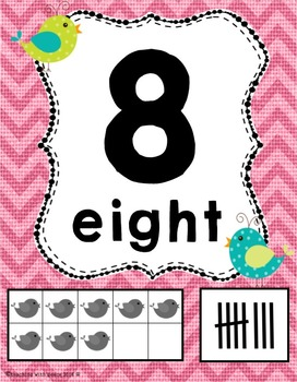 Birds and Burlap 0-20 Numbers Posters