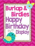 Birds and Burlap Birthday Wall Display