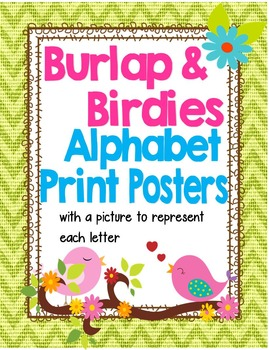 Birds and Burlap Manuscript Alphabet Posters with Pictures