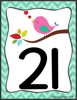 Birds and Burlap Numbers 0-50 Posters