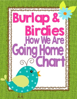Birds and Burlap Theme Going Home Chart System *editable*