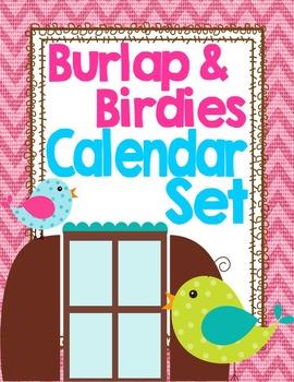 Birds and Burlap Theme Calendar Set
