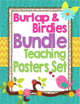 Birds and Burlap Theme Classroom Teaching and Learning Decor Bundle