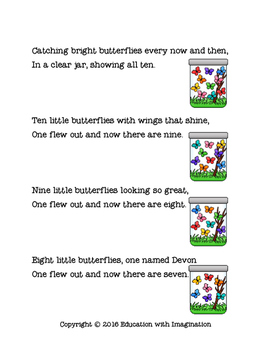 Birds and Butterflies Number Rhymes and Worksheets
