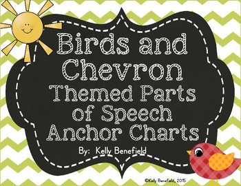 Birds and Chevron 8 Parts of Speech Posters