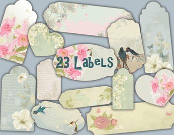 Birds and Flowers Label Tag Digital Frame Clip Art Birds F