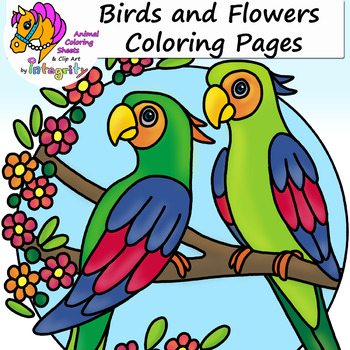 Birds And Flowers Spring Nature Coloring Pages Tpt