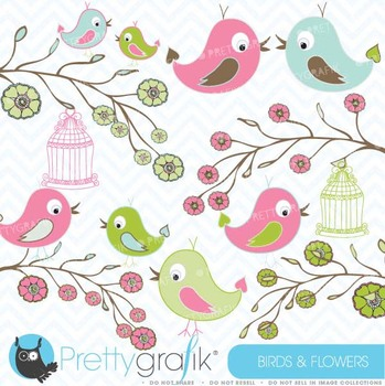 Birds and Flowers clipart commercial use, vector graphics - CL422