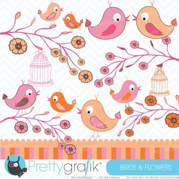 Birds and Flowers clipart commercial use, vector graphics - CL423