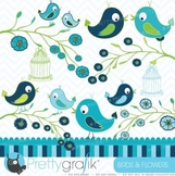 Birds and Flowers clipart commercial use, vector graphics - CL424