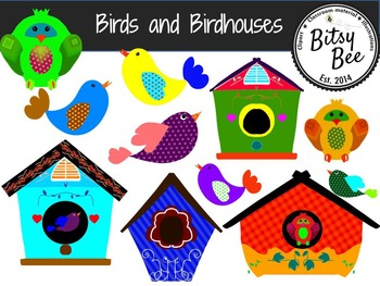 Birds and Houses  (Bitsy Bee Clip Art).