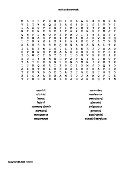 Birds and Mammals Word Search for Middle School Science