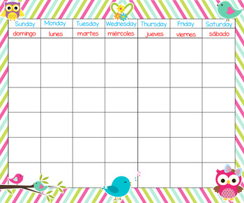Birds and Owls 24x20 Bilingual Calendar