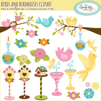 Birds and birdhouses clipart for commercial use