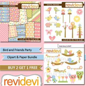 Birds and flowers clipart / Clip art and digital paper bundle (3 packs)