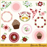 Birds and flowers clipart, Spring clipart, floral wreath clipart