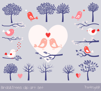 Birds and trees clip art, Cute love bird clipart, Hearts, Branches silhouettes
