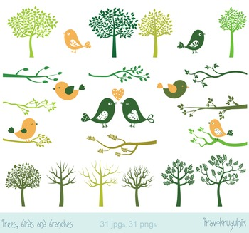 Birds clip art, Trees clipart, Green silhouettes trees, Branches clipart set