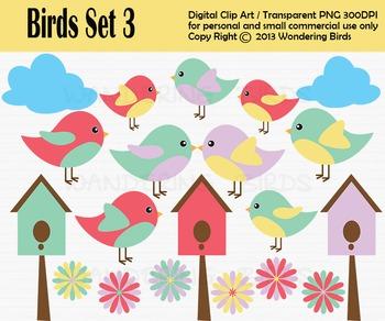 Birds clip art - set of 20 clip arts