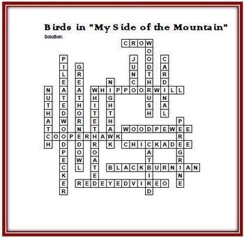 """Birds in """"My Side of the Mountain"""" Crossword Puzzle - Features 16 Birds"""