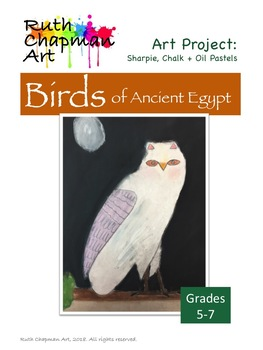Ancient Egyptian Birds Chalk Pastel Art Lesson for Grades 5-7