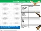 Birds of Prey Wordsearch Puzzle Sheet Keywords Animals Biology Predators