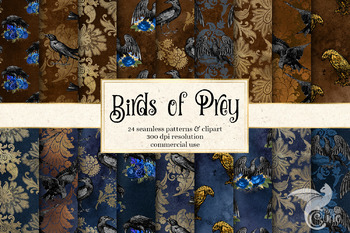 Birds of Prey digital paper seamless patterns and clipart