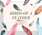 Birds of a Feather - Handpainted Watercolor Clipart