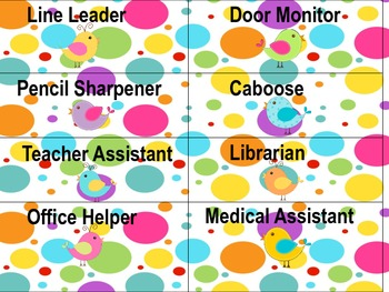 Birds of a Feather Job Chart Cards