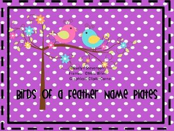 Birds of a Feather Editable Name Plates