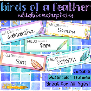 Birds of a Feather Watercolor Editable Nameplates