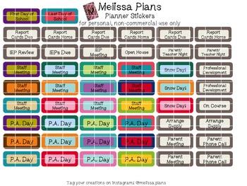 Teacher / School Event Planner Stickers - Erin Condren Vertical