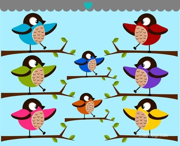 Birds on Tree Branch2 Clip Art