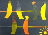 Birds on a Wire, Color Mixing and Collage WITH Video Link!