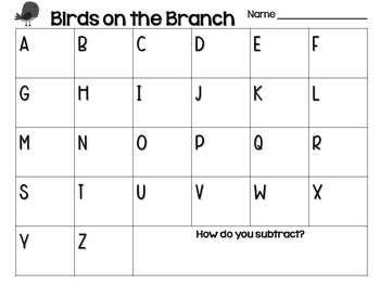 Birds on the Branch Subtraction FREEBIE