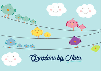 Birds on wires Clipart