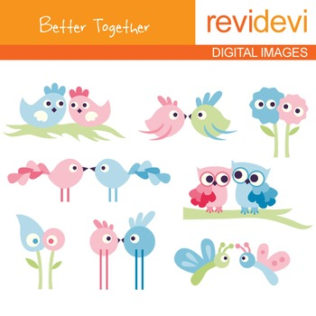 Birds, owl clip art (couple, pair, pink, blue) cute clipart