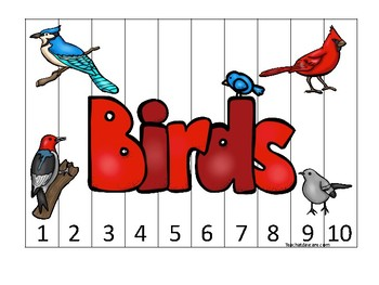 Birds themed 1-10 Number Sequence Puzzle Game. Printable Preschool