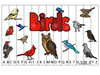 Birds themed Alphabet Sequence Puzzle Game. Printable Preschool Gam