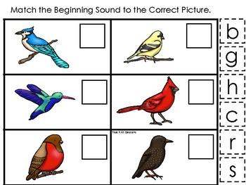Birds themed Match the Beginning Sound Game. Printable Preschool Game