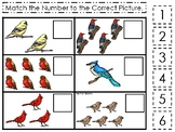 Birds themed Match the Number Game. Printable Preschool Game
