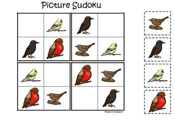 Birds themed Picture Sudoku Game. Printable Preschool Game