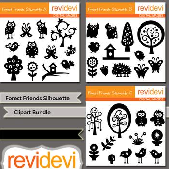Birds trees nature clipart bundle / forest friends silhouette clip art bundle