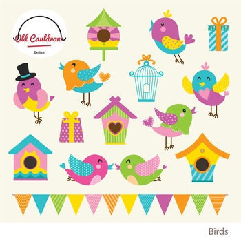 Birds vector clipart, spring clipart, nesting box clipart CL006