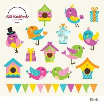 Birds vector clipart, spring clipart, nesting box clipart CL006