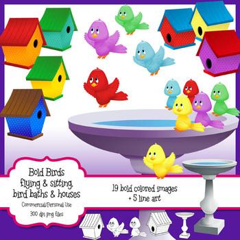 Birds,Birdhouses, Bird Baths Clipart