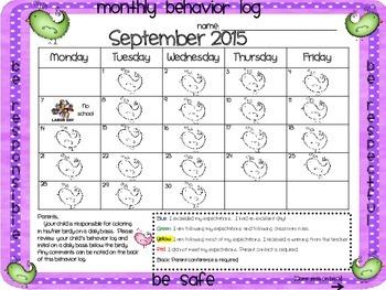 Birdy Behavior Calendar Logs for 2015-2016